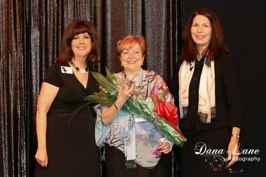 Sophie Shor accepts the 2013 Hunterdon County Businesswoman of the Year award from Judy Gold, BW NICE, Inc. board member and Diane Simovich, BW NICE, Inc. board president. Pictured here, (from left) are Judy Gold, Sophie Shor and Diane Simovich. (Picture by Dana Lane Photography)