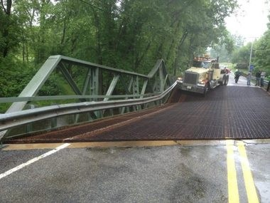 This truck stopped after a crane it followed caused the bridge to fall on Route 519 in Kingwood Township June 12, 2014.