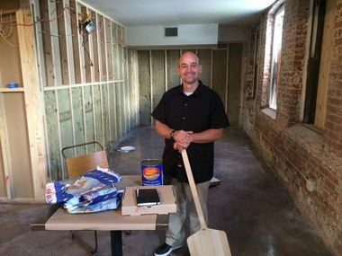 Here's Chris Bryan while his Liberty Hall Pizza in Lamberville was still under construction. (courtesy photo)