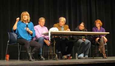Speakers Maya van Rossum of the Delaware Riverkeeper, Jeff Tittel of the N.J. Sierra Club, Mark Gallagher of Princeton Hydro, Karen Feridun of Berks Gas Truth and Lynda Farrell of the Pipeline Safety Coalition answer questions from residents at a forum opposing the PennEast pipeline at Delaware Valley High School on January 15, 2015. (Christine Lee | Hunterdon County Democrat)