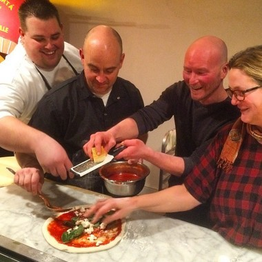 Two celebrated culinary experts and cookbook authors will team up with Liberty Hall Pizza's Chris Bryan in the second installment of Bryan's 'Guest Pizzaiolo' series on March 10 in Lambertville. Pictured (from left) are Alan Heckman, Chris Bryan, Ian Knauer and Shelley Wiseman. (courtesy photo)