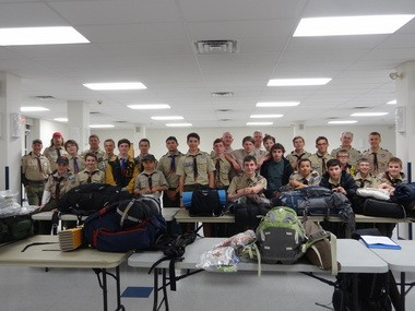 Scouts and scouters of Boy Scout Troop 200 in Annandale prepare for the 53rd Annual West Point Scout Camporee with a backpack inspection. Pictured (first row, from left) is: Danny Pedretti, Nate Nemeth, Rob Spies, Frankie Majkowski, Dillon Berenty, Brinton Gibbons, Phillip LaBelle, Aidan Berson, Mikey Fioto and Brian Pedretti. Second row: Kevin Sferra, Luke Marosy, Nathan Sferra, Nick LaBelle, Matt Gregory, Tyler Boyd, John Spies, Matt Bussell, Kyle Boyd and Ethan Lutz. Third row: Mike Anderson, Andy Berenty, Jim Gibbons, Mike Anderson, Lucca Pirozzi, Zack Majorosy, Steven Wells and Andrew Wells. (courtesy photo)