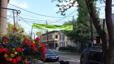Mayor Warren Cooper and Police Chief Al Kurylka recently announced that the Borough of Frenchtown is participating in a new pedestrian safety education campaign to reduce pedestrian-motor vehicle crashes in New Jersey. The Street Smart Frenchtown awareness campaign includes (shown here) a street banner on Bridge Street, posters, displays, and information cards distributed throughout town to reinforce the four key behaviors. (courtesy photo)