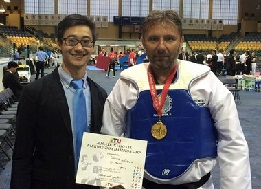 Flemington's JSK Taekwondo Academy's student, Dariusz Golczewski, took first place in adult sparring (Ultra division, Heavy Weight Division) during the 2015 ATU National Championship at the South Mountain Recreation Complex - Cody Arena at 560 Northfield Ave. in West Orange. (courtesy photo)