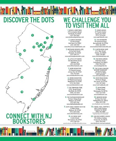 In honor of Independent Bookstore Day on April 30, Watchung Booksellers has spearheaded the creation of a New Jersey Independent Bookstore Map bookmark, to be handed out at The Book Garden in Frenchtown and more than 20 other participating independent bookstores. (courtesy photo)