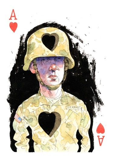 '52 Reasons to Love a Vet,' exhibit, at the Hunterdon Art Museum, is a project designed to bring attention to the needs of veterans returning from service.The exhibit will run through July 24. Pictured is a piece titled 'Ace of Hearts' - pen and ink and watercolor on paper - by Joe Ciardiello. (courtesy photo)