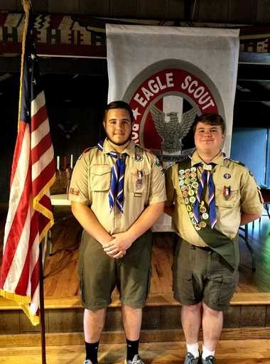 Caleb Korson and Justin Seiber earned the rank of Eagle Scout and were recognized during their joint Eagle Scout Court of Honor at Echo Hill Park on June 11. They are members of Troop 200 in Annandale.
