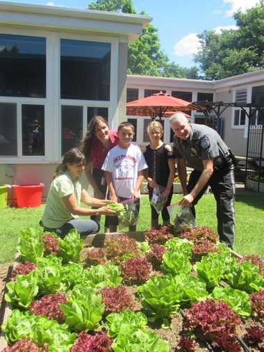 Each year, students at all grade levels in Whitehouse School participate in growing a school-wide vegetable garden. In the process, Rutgers Master Gardeners work alongside teacher grade level liaisons to co-plan relevant lessons that are linked directly to that grade level's curricular science units (e.g., weather, soil, plant, insects, etc.). The school has a composting program and under the direction of the Master Gardeners, the garden bed soil is professionally tested. The sophisticated lab result reports are then shared with students. For instance, third graders become familiar with the importance of having the appropriate balance of minerals in the soil, and if the soil is too acidic, they know how to bring it back to the correct pH level by adding lime. As a culmination to the school garden experience, all children partake in a Grab-and-Go Harvest in which they gather enough lettuce, onions, radishes, and sweet snap peas to fill a bag that they then bring home to enjoy with their families! Pictured here on Harvest Day are Laurie Fischer (Rutgers Master Gardener Team Leader), Melissa Truempy (Whitehouse School Garden Project Coordinator & third grade teacher), Owen Rivenbark (third grade student), Kelsey Burgey (third grade student), and Special Officer Brian Gilmurray (Readington Township Police Department).