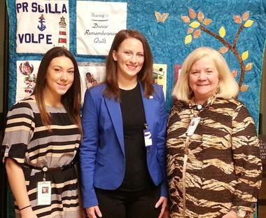 Elizabeth Stamler (pictured in middle), a dedicated NJ Sharing Network volunteer from Scotch Plains, visited NJ Sharing Networkâs headquarters in New Providence recently. With her are Amanda Abramo, external affairs assistant at NJ Sharing Network, and NJ Sharing Network Foundation Assistant Director, Sandy Erwin.