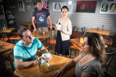 Pictured here are, (from left) actors, Matt McCarthy, Scott Cagney, Kristina Hernandez and Leslie Williams Reagoso as they rehearse for Summit Shorts at the Brownstone Theatre in Summit. (Photo by Chase Newhart Photography)