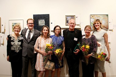 The Visual Arts Center of New Jersey in Summit celebrated its ninth annual For Artâs Sake event on Saturday May 2 and 3, benefiting arts education and outreach programs. Pictured here, (from left) are, Millie Cooper, board chair; Derek Mithaug, director; Kelly Deere, co-chair; Terri Friedman, co-chair Greg Smith, co-chair; Elizabeth Ventura, co-chair; Elisa Zachary, co-chair. (Photo by Kristin Maizenaski)