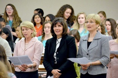 Pictured here (from left) are speakers, Carol McConkie, Carole Stephens and Cheryl Esplin.
