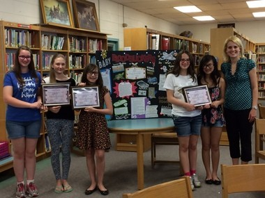 Picture here, (from left) Columbia Middle School seventh grade students Lily Walsh, Kasia Kapustka, Bianca Urbina, Julia Ellis, Gia LaSalle and Columbia Middle School science teacher Pamela Wilczynski