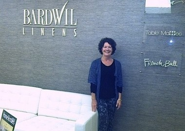 Summit resident Eileen O'Brien at the Bardwil Industries exhibit at the New York Home Fashions Market.