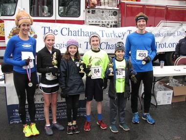 The winners of the Chatham Turkey Trot are (from left) Amy Cole, Sara Barrett, Kathryn Foley, Christopher Failla, Craig Raskin and Stephen Leonard. (courtesy photo)