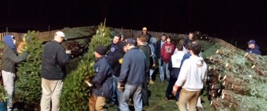 Chatham area dads and sons helped with the fire department's Christmas tree sale this year. (courtesy photo)