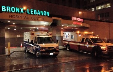 The freezing rain on Jan. 18 also affected New York and just after noon, the squad received a request for assistance from New York City to help with a backlog of over 600 EMS calls. Pictured is Summit Squad 3 at the Ambulance Entrance for Bronx-Lebanon Hospital. (courtesy photo)
