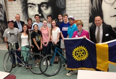 The Summit-New Providence Rotary Club announced that the first-ever Rotary Bike Safety Ride will take place on Sunday, May 3, 1 p.m., starting in the Lawton C. Johnson Summit Middle School parking lot. The ride is free and open to Summit residents and to neighboring towns. Children under 12 should ride with an adult. Pictured (front row, from left) are Rotary bike safety route guides from the Summit High School Key Club meeting for a briefing: Vito Gallo, Julia Persche, Zoe Tenny, Jane Rasweiler, Juliet Rowe, Will Freeman, Hammad Iqbal, Susan Haig and Paul Kieltyka. Back row: Mike Kelly, Michael Martins, Will Przedpelski, Danny Kane and Jonathan Ollom. (courtesy photo)