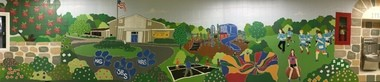 A huge mural now lines the halls of the school for fourth and fifth grade students. Parent volunteers, all of the children at Lafayette School , Lafayette School alumni, teachers, administrators and staff members worked together to create this mural which covers more than 1,800 linear feet. (courtesy photo)