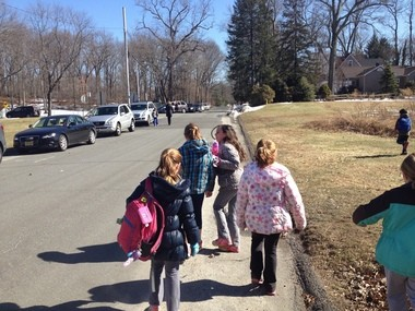 Chatham Township received a $578,000 grant for sidewalks from the federally- funded Safe Routes to School (SRTS) Program, the largest of the 2014 grants awarded to municipalities in New Jersey. Pictured, students walk on Spring Street, one of the streets to receive sidewalks as a result of the grant. (courtesy photo)
