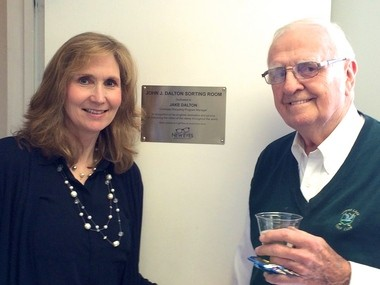 New Eyes for the Needy recently recognized longtime volunteer, Jake Dalton, for his 23 years of service to the Overseas Glasses Recycling Program, by naming the Eyeglasses Sorting Room in his honor. Pictured, are New Eyes Executive Director Jean Gajano and Jake Dalton with the new Sorting Room plaque. (courtesy photo)