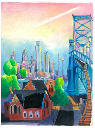 """""""A View from the Bridge"""" by Mickey McGrath, pen and ink, and acrylic on paper."""