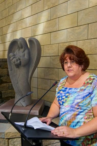 Ann Coyle, RN, BSN nurse at Virtua Voohees' NICU speaking at the dedication of The Angel Garden.