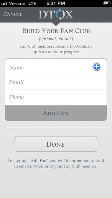 The DTOX app allows users to build a 'fan club' of supporters to help them through the process.
