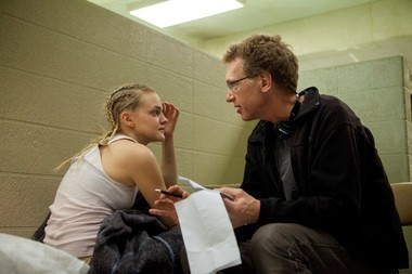 Madeline Brewer with cinematographer Phil Abraham on the set of 'Orange is the New Black.'