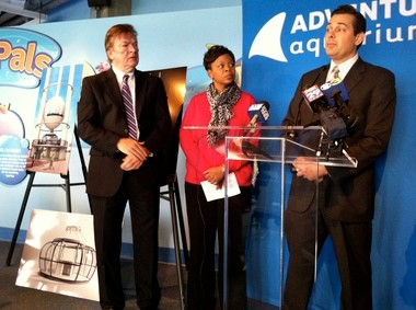 Camden Freeholder Jeffrey L. Nash (left), Camden Mayor Dana Redd (center) and Senator Donald Norcross (right) held a press conference Oct. 31 to announce the new Skyline Tower project for the Camden waterfront near Adventure Aquarium.