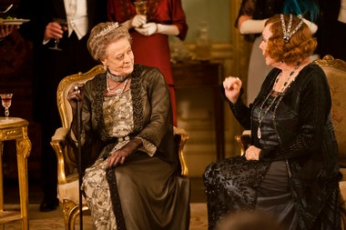 This undated publicity photo provided by PBS shows Maggie Smith as the Dowager Countess, left, and Shirley MacLaine as Martha Levinson from the TV series, 'Downton Abbey.'