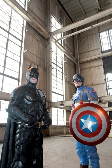 John Crawford, Batman, and Chad Permenter, Captain America, of Superheroes 4 Hire. (Staff Photo by Tim Hawk/South Jersey Times)