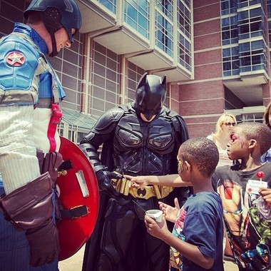 Superheroes 4 Hire - Johnny Crawford as Batman, and Chad Permenter as Captain America - recently visited Children's Hospital of Philadelphia for the 18th annual Center for Fetal Diagnosis and Treatment Family Reunion. More than 1,500 people from 22 different states attended the event.