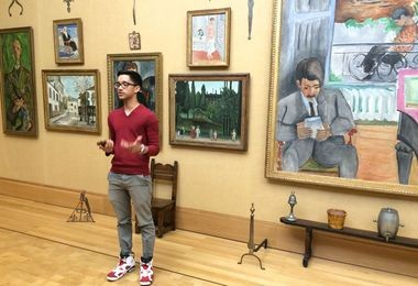 Asef Khurshan, a member of the STAMP teen council, discusses the audio tour at Barnes Foundation in Philadelphia.