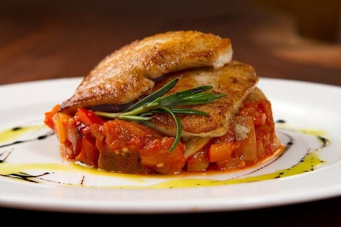 Day boat fluke with summer ratatouille and rosemary at d'Floret in Lambertville. (Cathy Miller | Inside Jersey)