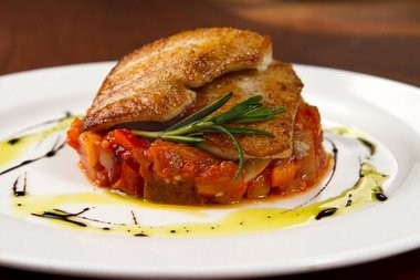 Cape May fluke with summer ratatouille and rosemary.
