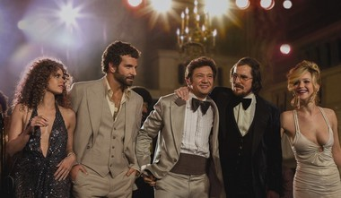 """Amy Adams, Bradley Cooper, Jeremy Renner, Christian Bale and Jennifer Lawrence, star in """"American Hustle,"""" which producers describe as a work of fiction."""