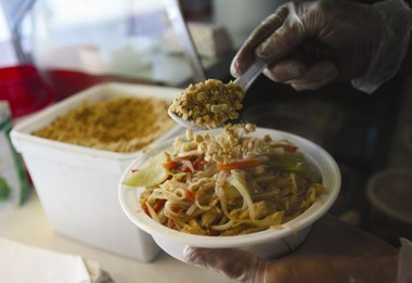 Based in Newark, Jerry Ley's truck is the only one in New Jersey that serves Cambodian fare, such as this noodle dish.