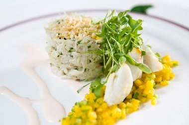 Jumbo lump crab salad, with mango-serrano pepper relish, toasted rice and pickled ginger emulsion