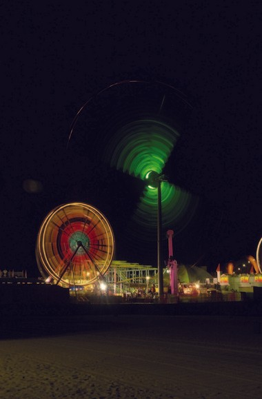 Rides on the Seaside Heights boardwalk glow in the dark in 2000.
