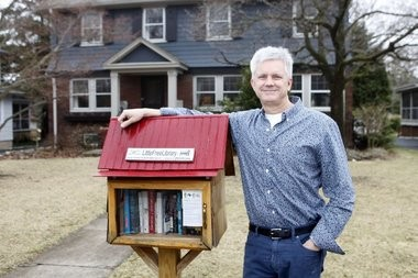 """I like the fact that people will just stop by. It builds a little sense of community,"" says Jon Bonesteel, whose Little Free Library has inspired the construction of others in Montclair."