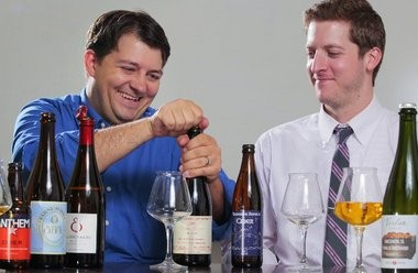 """""""Esoteric fermentation consultant"""" John Hoyos, left, and """"brewconomist"""" Graham Haverfield, both from Hunterdon Brewing in Whitehouse Station, sample some hard ciders"""