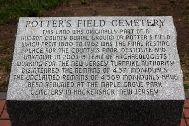 A memorial at Laurel Hill County Park pays tribute to the dead excavated from Snake Hill during a construction project on the New Jersey Turnpike in 2003.