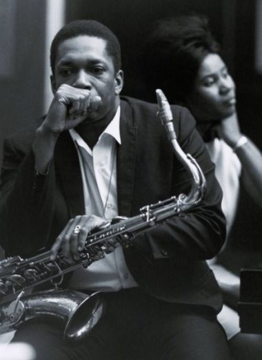 """John Coltrane, photographed in the Van Gelder Studio with wife Alice, completed """"A Love Supreme"""" in about four hours."""