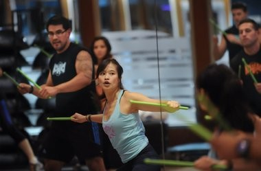 Instructor Joyce Wong leads a pound class at the Crunch workout space in Hoboken.