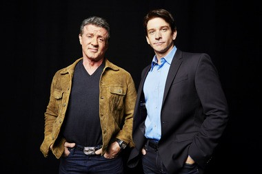 "Sylvester Stallone, left, and Andy Karl share the spotlight in October. Stallone originated the character of Rocky Balboa for his 1976 film ""Rocky""; Karl played the character in last year's Broadway adaptation, ""Rocky: The Musical."""