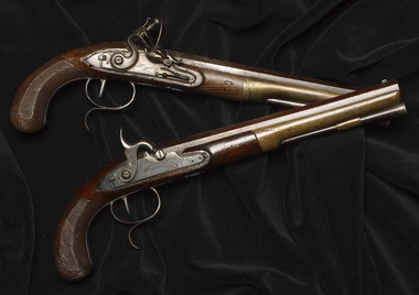 The dueling pistols used by Alexander Hamilton and Aaron Burr in their 1804 duel on the Weehawken bluffs.