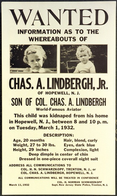 The original wanted posted from the kidnapping of the Lindbergh baby from his home in Hopewell Township on March 1, 1932.