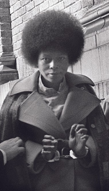 Joanne Chesimard, accused in the 1973 shooting death of New Jersey State Trooper Werner Foerster, outside the Middlesex County Courthouse in 1976.