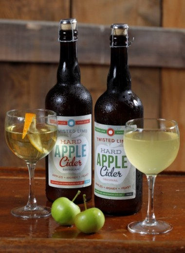 """Twisted Limb cider is available in two styles -- """"Bavarian blend,"""" at left, and original."""